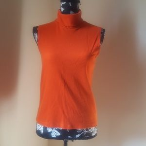 Ralph Lauren Orange Sleeveless Turtleneck Top